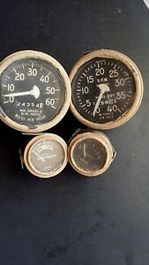 Lot Of 4 Jeep Parts Military Stewart Warner Speedometer Tachometer Battery Fuel