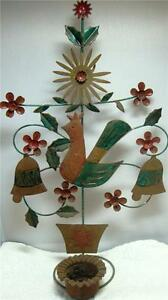 Primative Folk Art Rooster Bells Candle Holder Sconce Wall Hanging Tin Iron