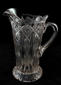 Victorian Glass Pitcher C 1900 Hobstar And Fan Design 10 Inches Tall