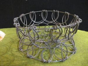 Antique Vintage Wire Chicken Egg Basket Folding With Feet Rare