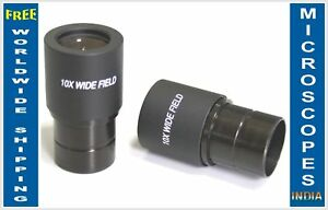 Pair Extra Wide Field 10x Eyepiece For Compound Reflected Light Microscope