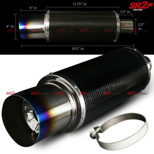 Universal Carbon Fiber Body Exhaust Muffler 2 5 Inlet 4 Burnt Tip Silencer