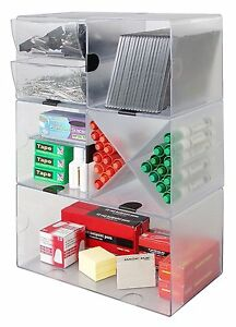 Pens Cube Organizer Coloring Pen Office Supplies Stackable Divider Box Clear New