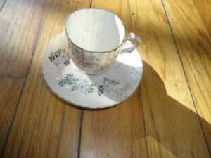 Miniature 2 Eggshell Pink Porcelain Cup And Saucer
