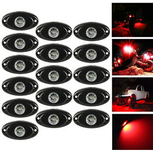 16x Red Cree Led Rock Light Off Road Underglow Foot Wheel Well Lamp Truck Trail