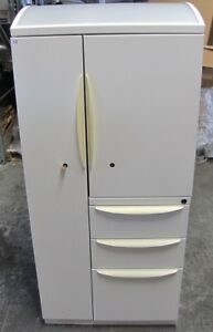 Haworth Personal Storage Tower Office Metal White Wardrobe Tool Cabinet W key