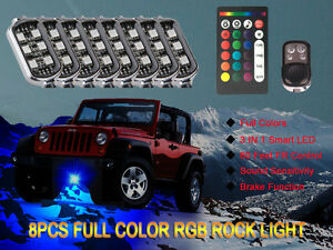 8pcs Led Rock Lights Aluminum Wireless Music Rgb Color Accent Under Car Lighting
