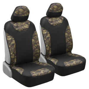 Thick Camouflage Front Car Bucket Seat Covers Sideless Waterproof Camo Black