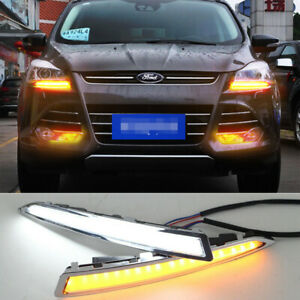 2x Led Daytime Running Fog Lights Lamp Drl Control For Ford Escape Kuga 13 2015