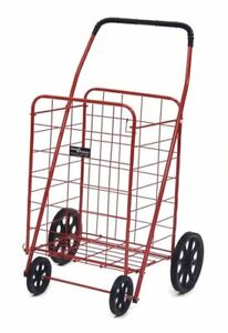 Compact Foldable Shopping Cart Red Holds Up To 125 Lbs Free Shipping