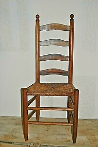 Antique Shaker Style Ladder Back Accent Chair Rush Woven Seat