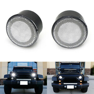 Clear Lens White Led Halo Drl Light Amber Turn Signal Lamps For Jeep Wrangler Jk