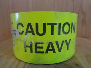 Uline S5936 Tape Labels Caution Heavy 3 x5 Roll Of 500 Fluorescent Yellow