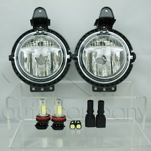 For 07 15 Mini Cooper Replacement Fog Lights Pair W Cob Smd Led Bulbs Clear