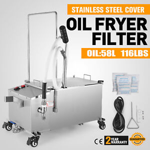 58l Fryer Oil Filter Machine Filtration System 15 3 Gal W Stainless Steel Lid