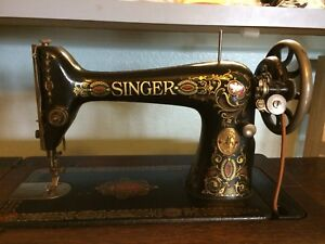 Antique Singer 66 Redeye Treadle Sewing Machine 1921 In Cabinet In Arizona