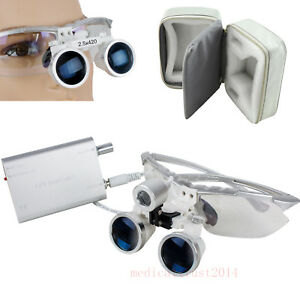 Silver 2 5x420 Dental Surgical Loupes headlight Set optional Led Headlight Lamp