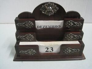Antique Table Support For Business Cards In Exotic Wood And Boar Silver
