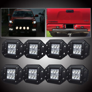 Universal Front Rear Bumper Backup Reverse Flush Mount Led Lights Fog Lamp 8 Pcs