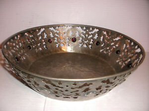 Antique Silver Plate Arts And Crafts Open Work Jeweled Cabochon Amethyst Bowl