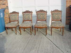 1 Antique Matching Victorian Parlor Eastlake Carved Parlor Chair Walnut Carved