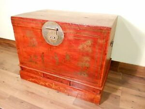 Antique Chinese Trunk 5417 Hand Painted Red Lacquer Circa 1800 1849