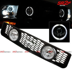 Dual Led Drl Halo Fog Light Lamp Front Hood Grill For 05 09 Ford Mustang V6