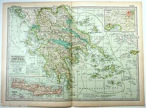 Original 1897 Map Of Greece By The Century Company Antique