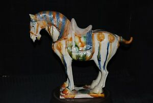 Chinese Tang Style Sancai Glaze Standing Sculpture Of Horse 11 1 2 Statue Marked