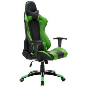 Home Office Green N Black Pu Leather Racing Style Reclining Gaming Chair Us