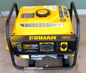 Firman P01202 1500 1200 Watt Gas Powered Portable Generator used