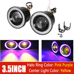 2x 3 5 Inch Universal Yellow Fog Lights Bumper Lamps With Pink Halo Ring 12v