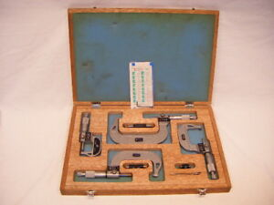 Nsk 552 201 0 4 Digital Micrometer Set Tungston Carbide With Wood Case G3
