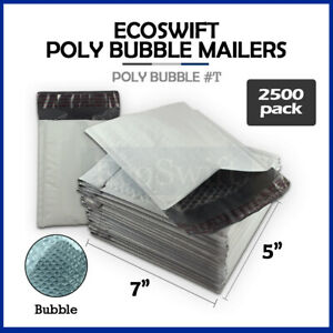 2500 t 5x7 Self Seal Poly Bubble Mailers Padded Shipping Envelopes Bags 5 X 7