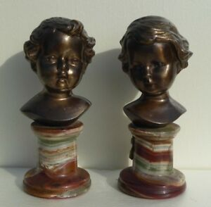 A Pair Antique Bronze Bust Children Italy Marble Bases Figurines