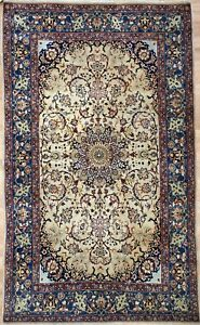Exceptional Esfahan 1900s Antique Persian Rug Isfahan Carpet 5 X 6 7 Ft