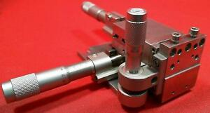 Newport 3 axis Translation Stage two Sm25 Micrometers And One Sm13 Micrometer