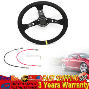 Usa 350mm Deep Dish 6 Bolt Sport Racing Steering Wheel Suede Leather Horn Button