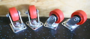 Set Of 4 Heavy Duty Swivel 2x4 Casters used One Time Excellent Condition