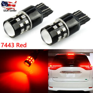 2x 7443 Pure Red 24 Smd Rear Safety Alert Brake Tail Stop Led Lights Bulbs Honda