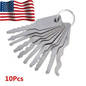 Stainless Steel Jiggler Key Car Door Opener Unlocking Repairing Tools Kit Silver