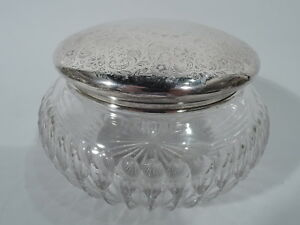 International Wilcox Jar Vanity Powder American Sterling Silver Cut Glass