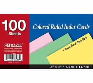 Bazic 100 Ct 3 X 5 Ruled Colored Index Card case Of 36