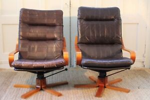 Rare Pair Westnofa Mcm Bentwood And Leather Swivel Reclining Chairs Ottoman