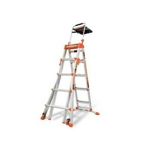 Aluminum Step Ladder Adjustable Wheeled Climbing Platform Home Building 5 8 Foot