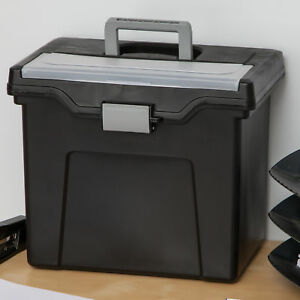 Iris Usa Inc Portable Letter Size File Box With Organizer Lid Set Of 4
