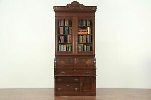 Victorian Eastlake Antique Cylinder Roll Top Secretary Desk Bookcase 29119