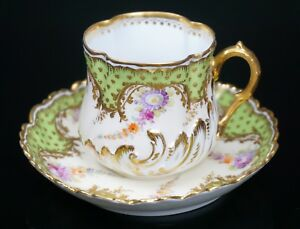 Dresden Lamm Hand Painted Gold Green Porcelain Cup And Saucer Gorgeous