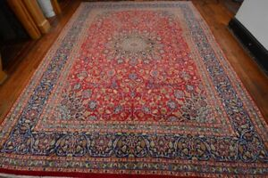 Vintage Classic Persian Floral Design Rug 9 X12 Red Blue All Wool Pile