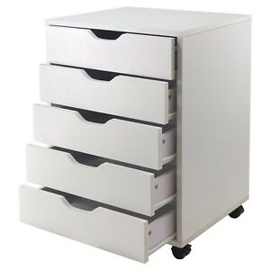 5 drawer Wood File Cabinet White Rolling Home Office Craft Or Bedroom Organizer